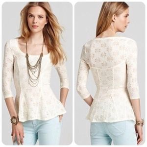 Free People StretchFloral Lace Peplum Ivory size M